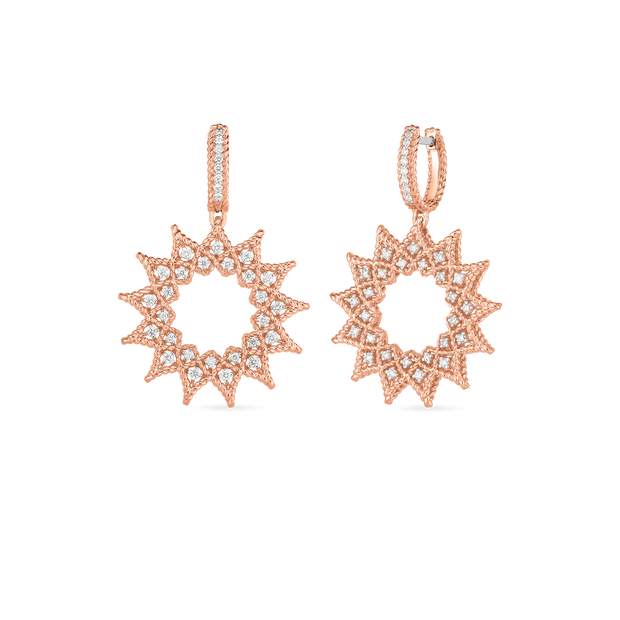 18K DIAMOND ACCENT MEDIUM SUNBURST DROP EARRINGS -   ROBERTO COIN