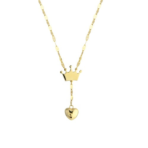 Crowned Puffed Heart Lariat