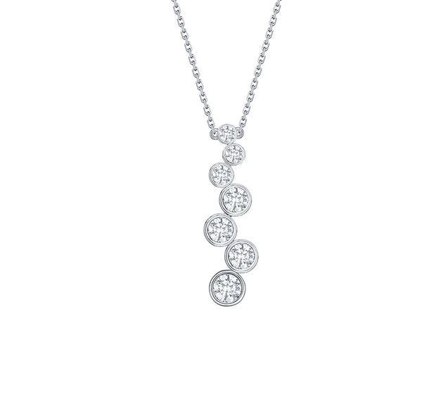 Bubbly Diamond Bar Necklace