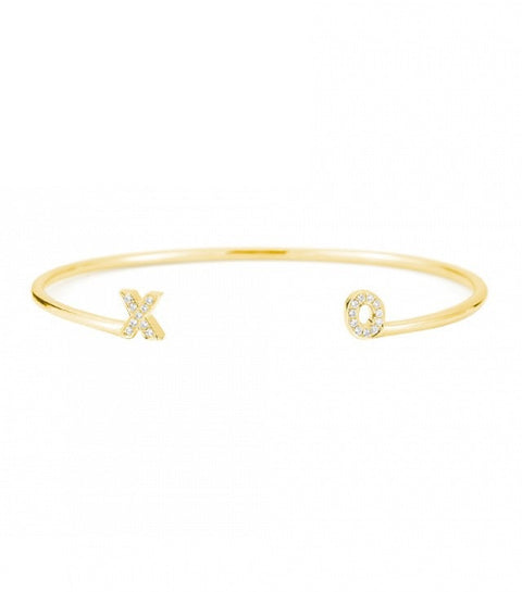 INITIAL YELLOW GOLD CUFF, , Bracelet, Dana Rebecca Designs, D'Amore Jewelers  - 1