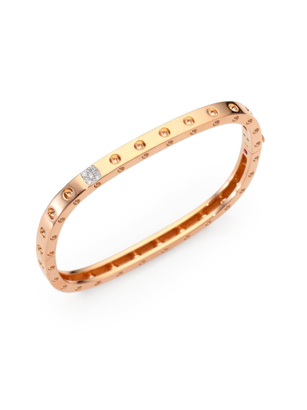Rose Gold Single Diamond Bangle, , Bracelet, Roberto Coin, D'Amore Jewelers