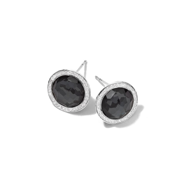 Small Stud Earrings in Sterling Silver with Diamonds