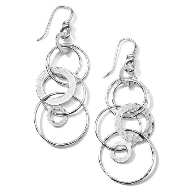 Medium Hammered Jet Set Drop Earrings in Sterling Silver