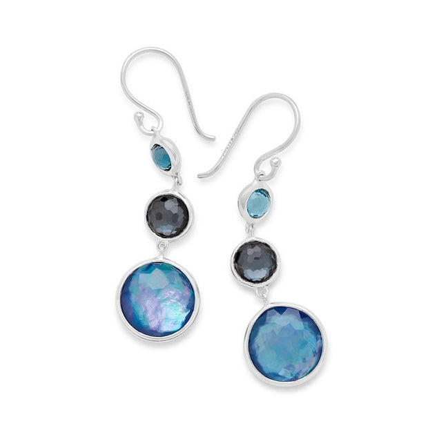 Lollitini 3-Stone Drop Earrings in Sterling Silver