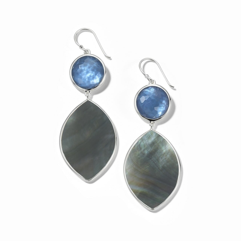 Stone and Marquise Shell Earrings in Sterling Silver