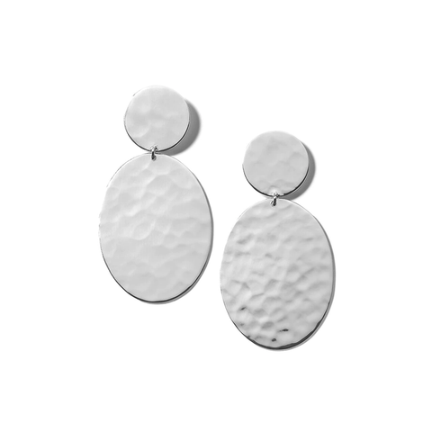 Crinkle Hammered Oval Snowman Earrings in Sterling Silver