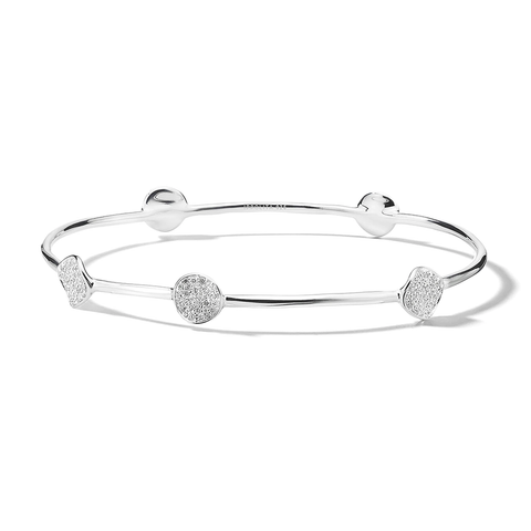 5-Flower Station Bangle in Sterling Silver with Diamonds