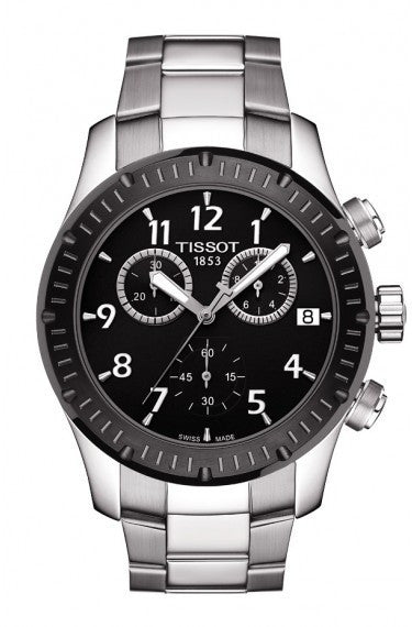 TISSOT V8 MEN'S QUARTZ BLACK DIAL WATCH WITH STAINLESS STEEL BRACELET, , Watches, Tissot, D'Amore Jewelers