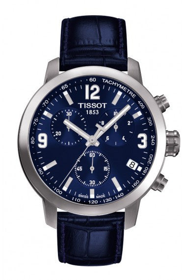 TISSOT PRC 200 MEN'S QUARTZ CHRONO BLUE DIAL WATCH WITH BLUE LEATHER STRAP, , Watches, Tissot, D'Amore Jewelers