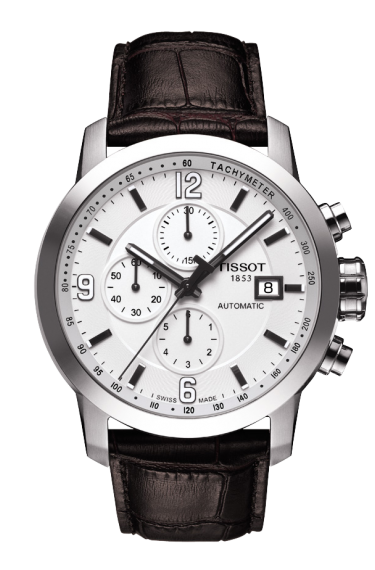 TISSOT PRC 200 MEN'S AUTOMATIC CHRONO WHITE DIAL WATCH WITH BROWN LEATHER STRAP, , Watches, Tissot, D'Amore Jewelers