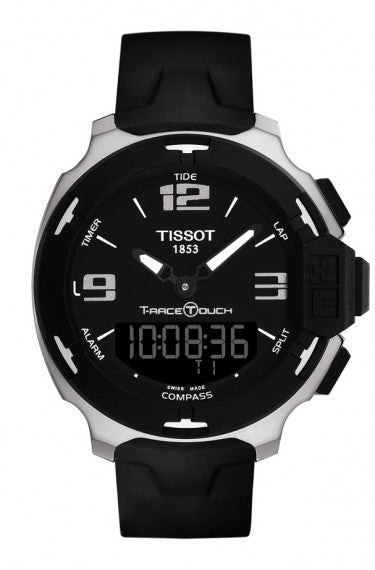 TISSOT T-RACE TOUCH MEN'S QUARTZ BLACK AND SILVER DIAL WATCH WITH BLACK RUBBER STRAP, , Watches, Tissot, D'Amore Jewelers