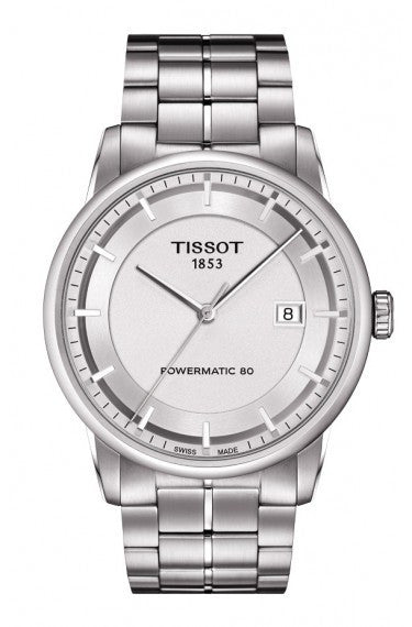 TISSOT LUXURY AUTOMATIC MEN'S SILVER DIAL WATCH WITH STAINLESS STEEL BRACELET, , Watches, Tissot, D'Amore Jewelers