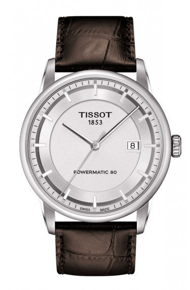 TISSOT LUXURY AUTOMATIC MEN'S SILVER DIAL WATCH WITH BROWN LEATHER STRAP, , Watches, Tissot, D'Amore Jewelers