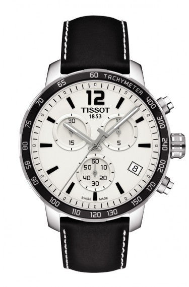 TISSOT QUICKSTER MEN'S QUARTZ CHRONOGRAPH SILVER DIAL WATCH WITH BLACK LEATHER STRAP, , Watches, Tissot, D'Amore Jewelers