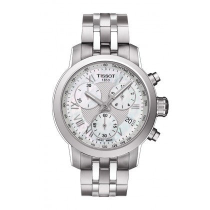 PRC 200 Women's Quartz Chrono Watch - Mother-of-Pearl Dial With Stainless Steel Bracelet, , Watches, Tissot, D'Amore Jewelers