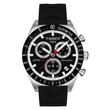 Men's Black Quartz Chronograph Stainless Steel Watch With Black Rubber Strap, , Watches, Tissot, D'Amore Jewelers