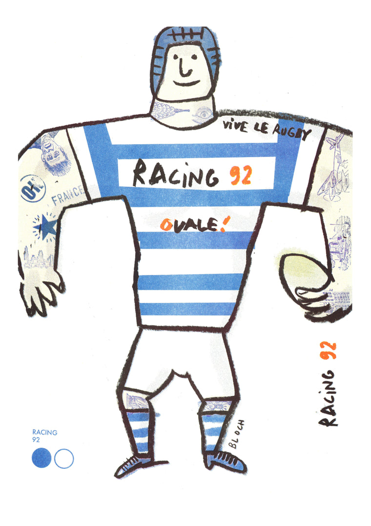 Poster Riso Serge Bloch - Racing 92 - TOP 14