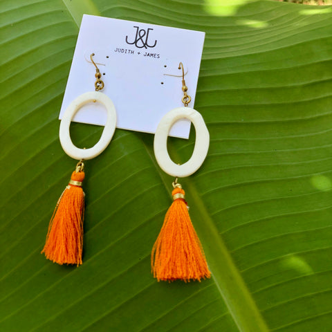 Natural Stone Circle Earring with tassel | White + Orange