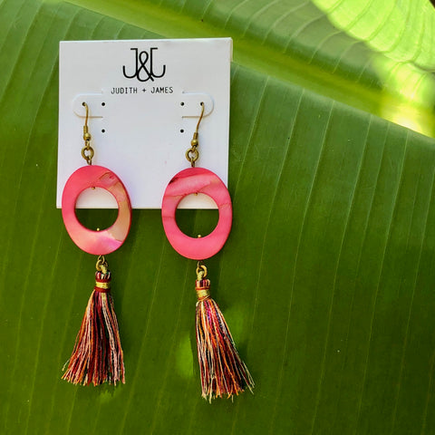Natural Stone Circle Earring with tassel | Pink + Multi