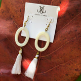 Natural Stone Circle Earring with tassel | White + White