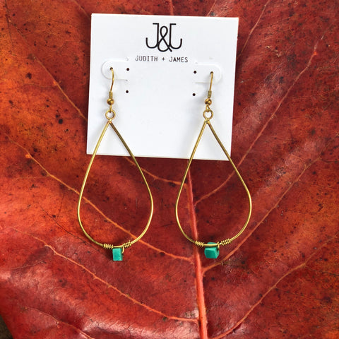 Brass Teardrop Earring with genuine turquoise stone