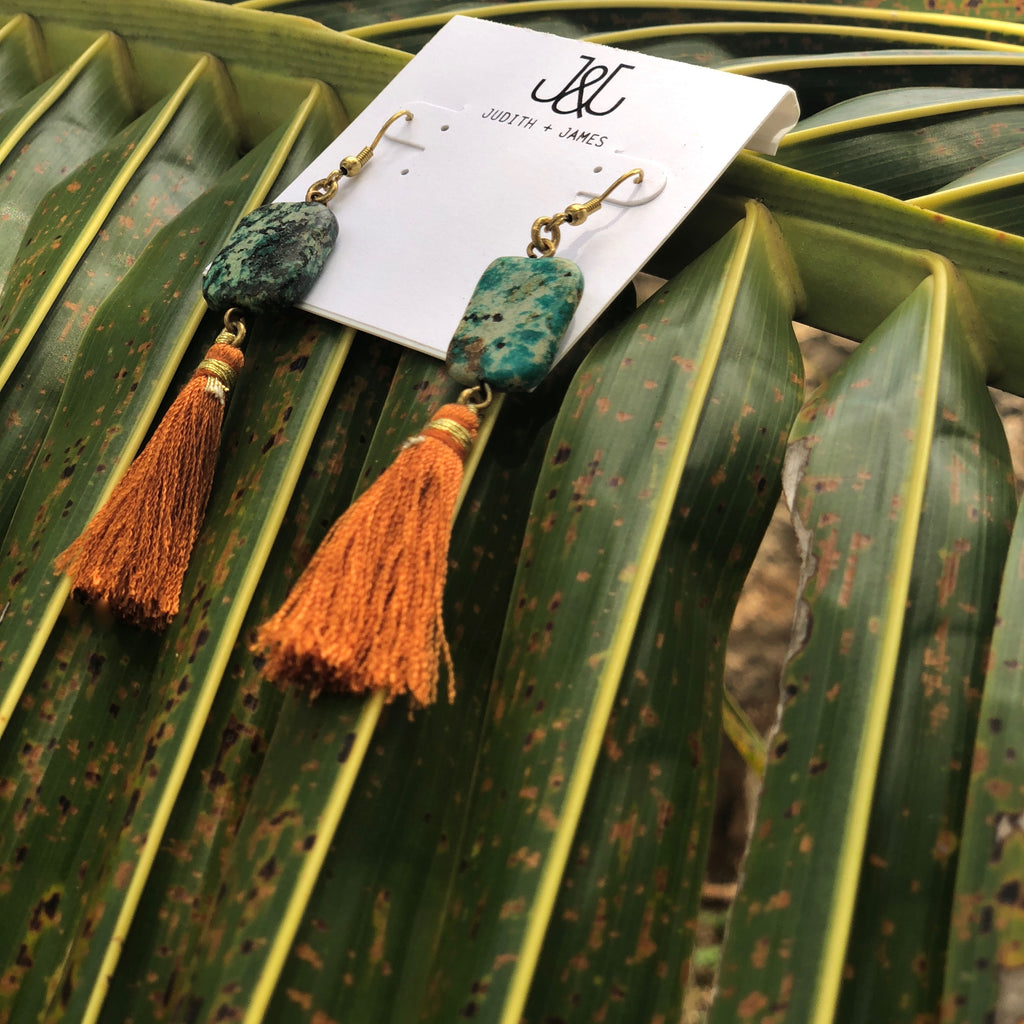 Tassel Earring with genuine turquoise stone