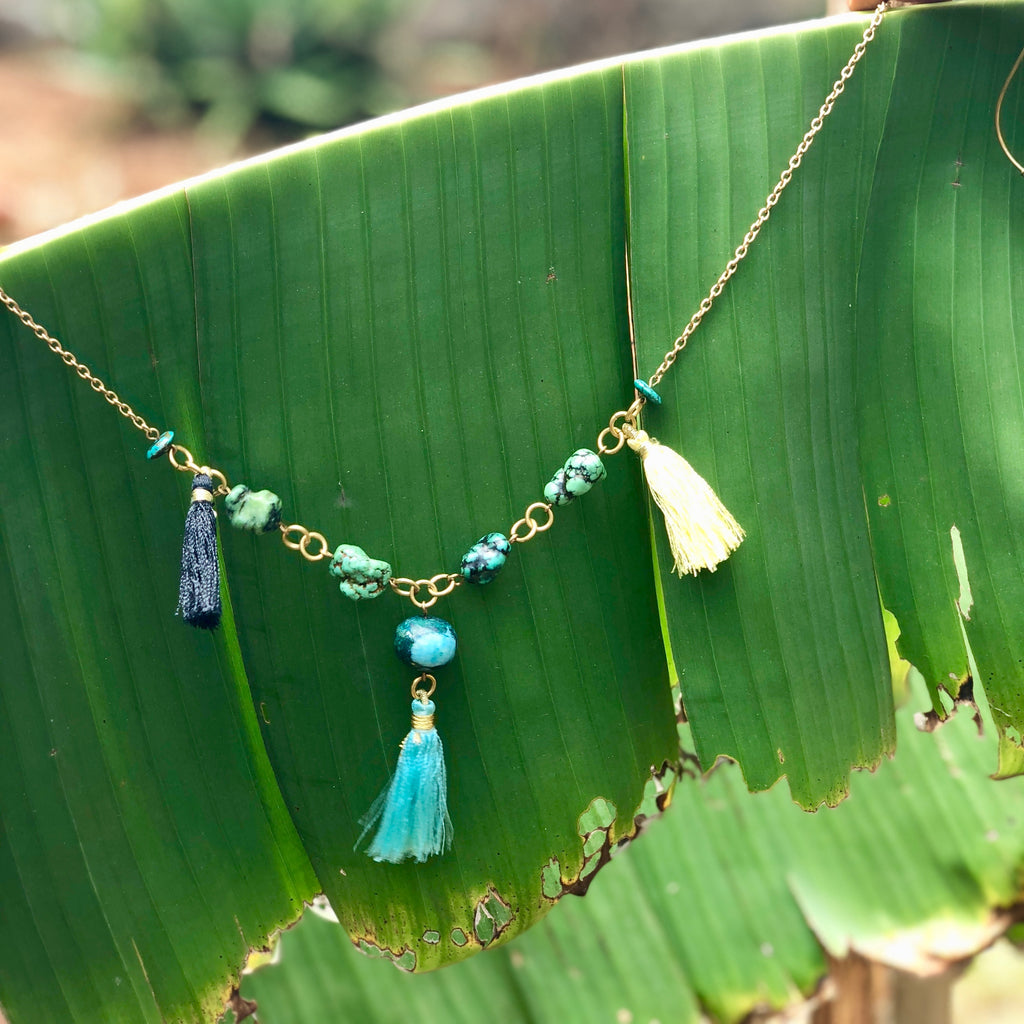 Tassel Necklace with genuine turquoise stones