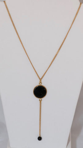 Black glass drop Necklace