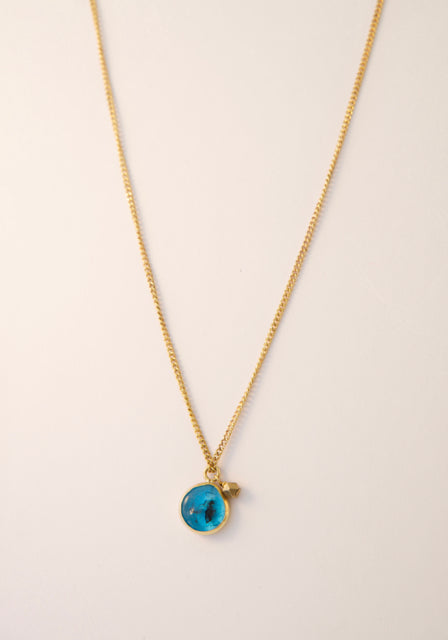 Blue glass short Necklace