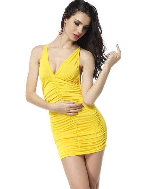 Cinched Front Club Dress - Yellow