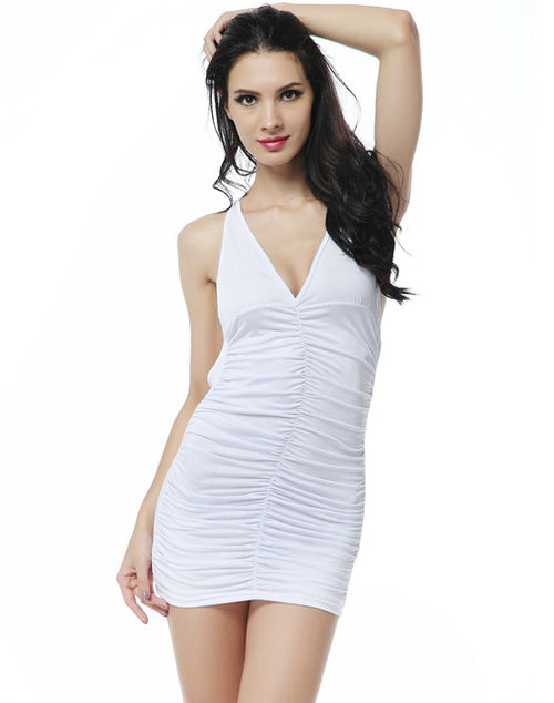 Cinched Front Club Dress - White