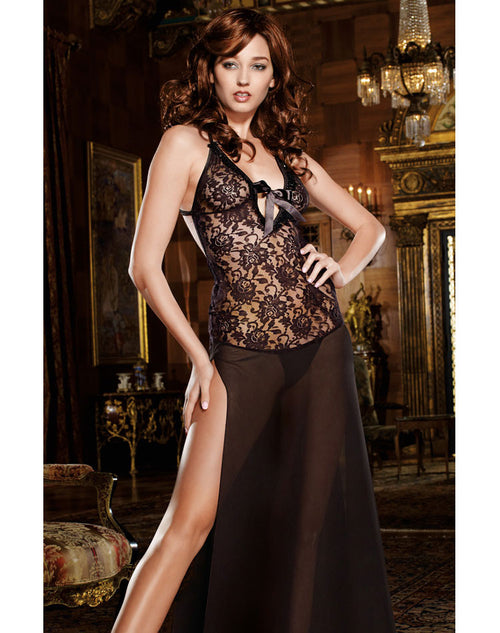 Stretch Lace & Chiffon Low Back Night Gown - Black