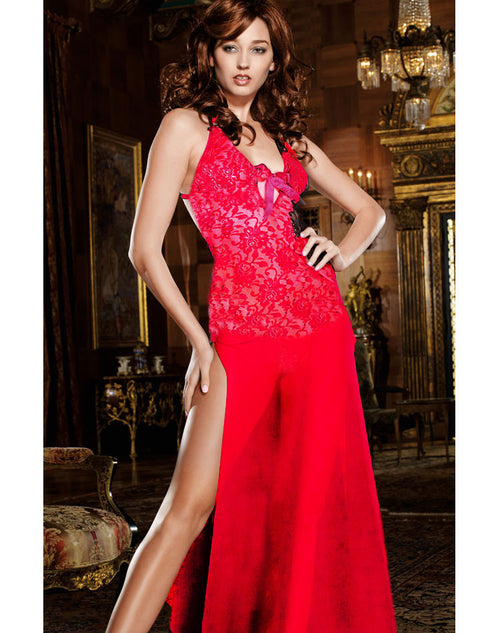 Stretch Lace & Chiffon Low Back Night Gown - Red