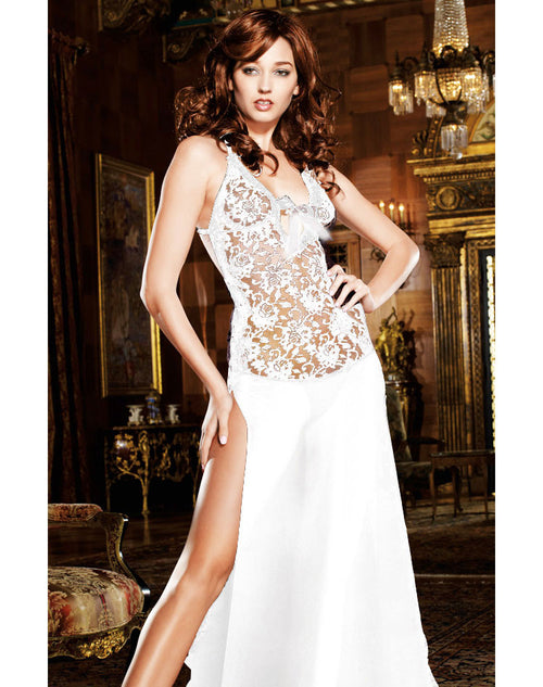 Stretch Lace & Chiffon Low Back Night Gown - White