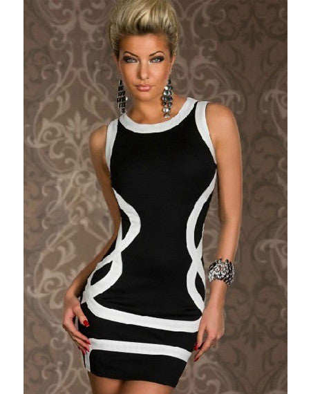 Black Clubwear With White Pattern - Black