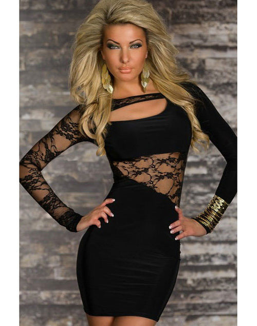 Lace And Knit Dress - Black