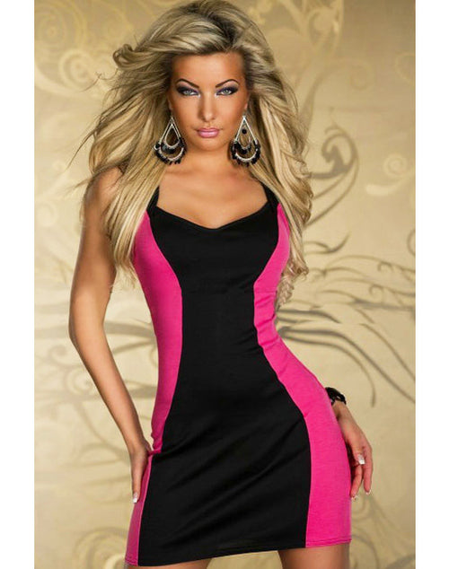 Elegant Two Tone Dress - Black and Pink