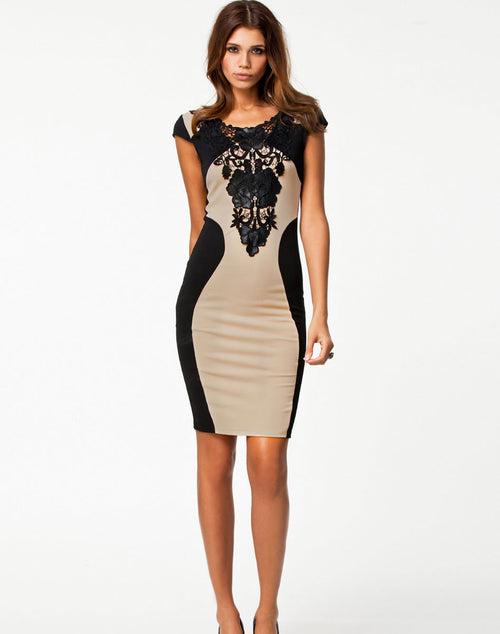 Bohemian Bandage Dress - Black and Beige