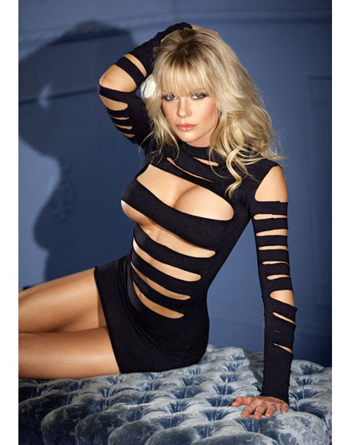 Long Sleeve Seamless Cutout Mini Dress - Black