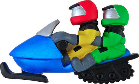 Snowmobile with Two Riders Christmas Ornament