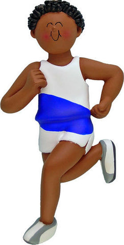 African-American Male Runner Christmas Ornament
