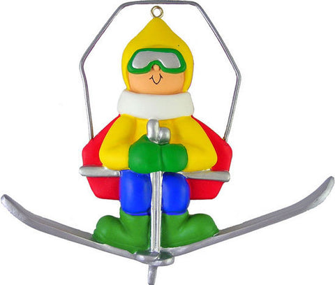 Male Snow Skier on Lift Christmas Ornament