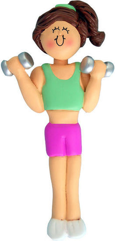 Brunette Female Weightlifter Christmas Ornament