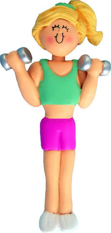 Blonde Female Weightlifter Christmas Ornament