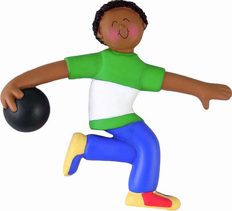 African-American Male Bowler Christmas Ornament