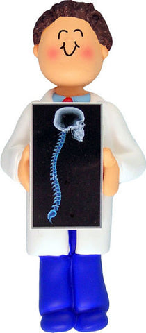 Brown Hair Male X-Ray Technician Christmas Ornament