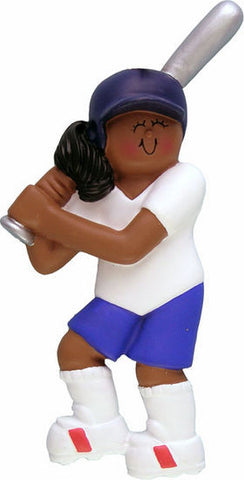African-American Female Softball Player Christmas Ornament