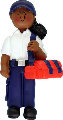 African-American Female EMT Christmas Ornament