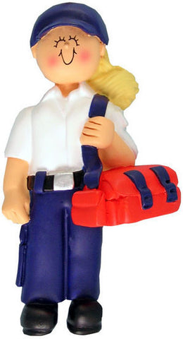 Blonde Female EMT Christmas Ornament