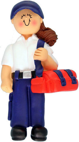 Brunette Female EMT Christmas Ornament
